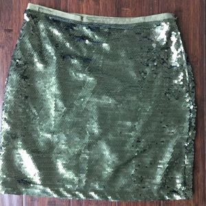 Green Sequined 4 Mini Skirt Ann Taylor Loft